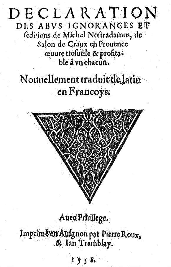 Videl, Declaration des abus ignorances et seditions, 1558