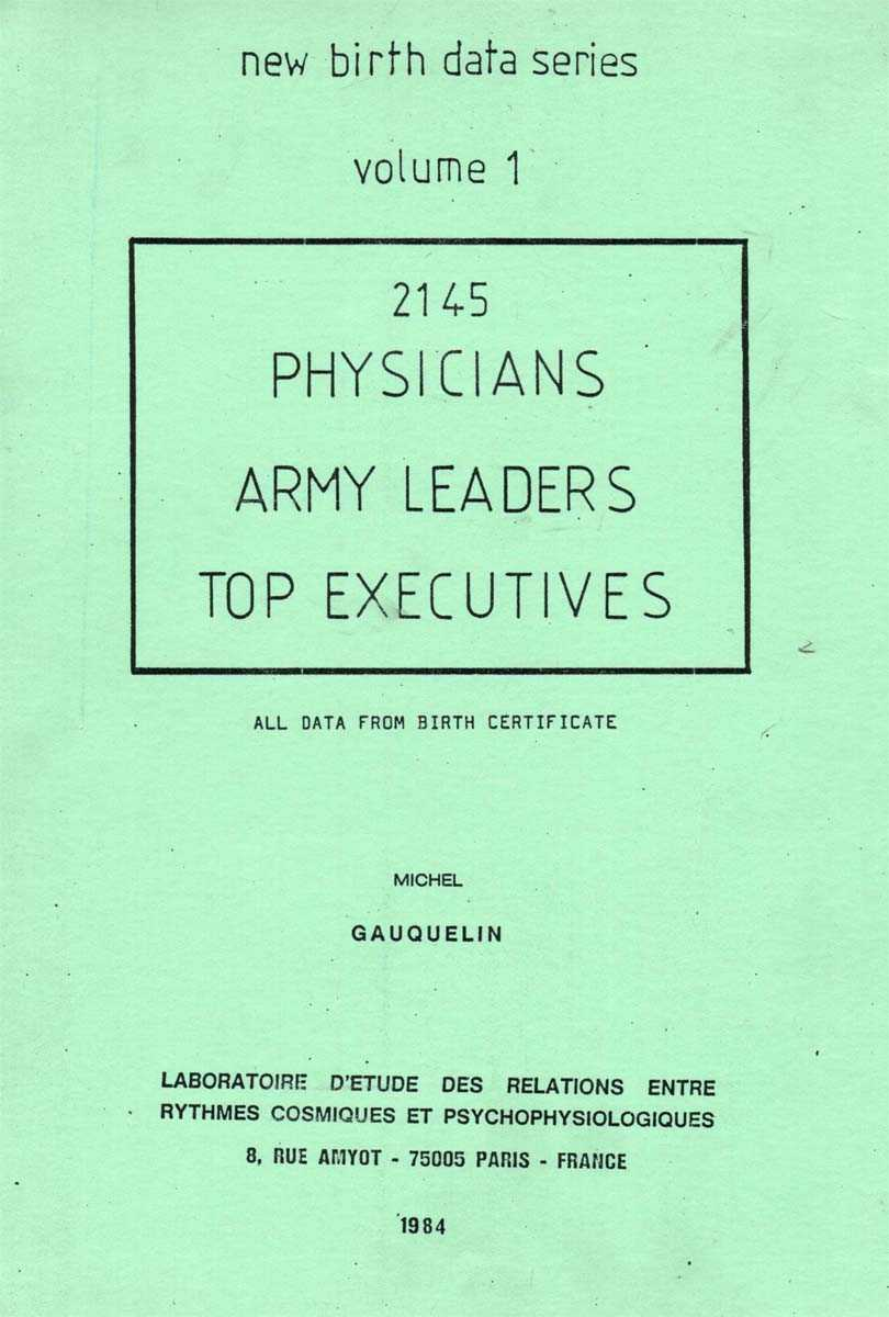 Gauquelin, New French Physicians, Army Leaders, Top Executives, titre
