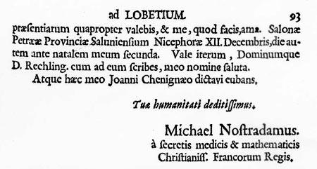 Lettre de Nostradamus, Mieg, 1701, p.93